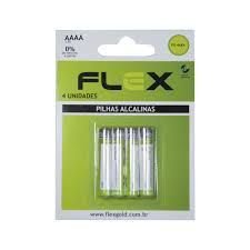 PILHA AAA ALCALINA C/4 UNIDADES -MARCA : FLEX MOD. FX- AAAAK4