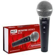 MICROFONE DINAMICO DE METAL M-58 PROFISSIONAL PRETO CABO 3M O.D:5MM
