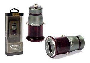 FONTE VEICULAR 1 USB TURBO + CABO V8 1M BRANCO SH-304Q SHINKA