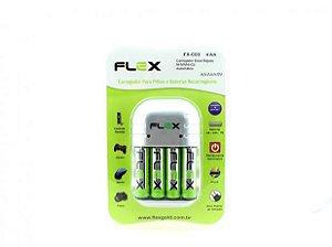 CARREG. DE PILHA MOD. COM 4 PILHAS RECARREGAVEIS AA FX-C03/4P FLEX