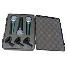MICROFONE DINAMICO DE METAL 3PCS PRO BTM-58A PROF C/MALETA E CACHIMBO