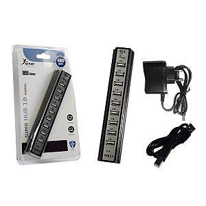 SUPER HUB 10 PORTAS USB 2.0 480MBPS KNUP HB-T69