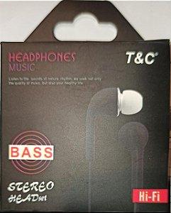 HEADPHONES MUSIC T+C BASS STEREO HEADSET HI-FI