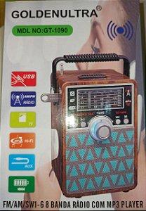 CAIXA DE SOM RÁDIO COM MP3 FM/AM/SW1/USB/AUX/CARD GOLDENULTRA GT-1090