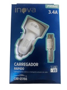 CARREGADOR AUTOMOTIVO V8 3.4A INOVA CAR-G5166