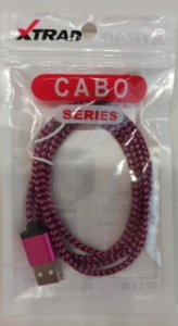 CABO DE DADOS USB LIGHTNING NYLON COLORIDO XTRAD XT-5350-5G/6G