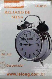 RELOGIO DE MESA DESPERTADOR LELONG LE-8121