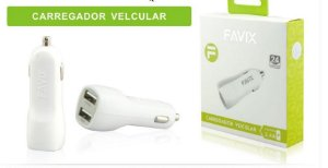 FONTE CARREGADOR VEICULAR USB DE PAREDE 2 PORTA 2.4A USB FAVIX  FX-C25