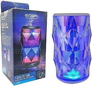 CAIXA DE SOM BLUETOOTH COM LED COLORIDO EXBOM CS-M54BT