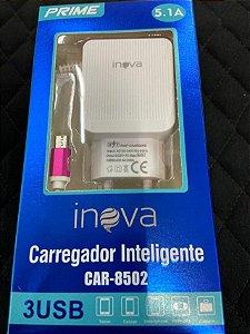 CARREGADOR INTELIGENTE INOVA PRIME V8 5.1A 3 USB CAR-8502
