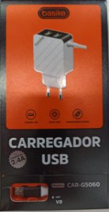 CARREGADOR TURBO V8 BASIKE 5V 2.4A 2 USB CAR-G5060