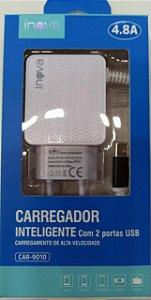 CARREGADOR INTELIGENTE INOVA TYPE-C 4.8A 2 USB CAR-9010