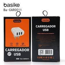CARREGADOR TURBO V8 BASIKE 5V 3.1A 3 USB BA-CAR0011