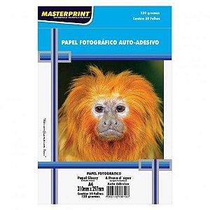 PAPEL FOTOGRÁFICO ADESIVO MASTERPRINT A4 210mm X 297mm C/50 FOLHAS