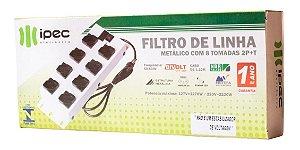 FILTRO DE LINHA 8 TOMADAS 3 PINOS 2P+T CABO 1,10M BIVOLT IPEC