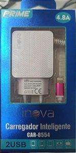 CARREGADOR INTELIGENTE INOVA PRIME LIGHTNING 4.8A 2 USB CAR-8554