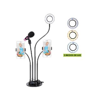 RING LIGHT 3,5 POLEGADAS COM SUPORTE PARA 2 SMARTPHONE E 1 SUPORTE MICROFONE ARTICULADO X-CELL XC-RL-04