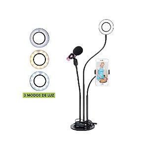 RING LIGHT 3,5 POLEGADAS COM SUPORTE PARA SMARTPHONE E MICROFONE ARTICULADO X-CELL XC-RL-03