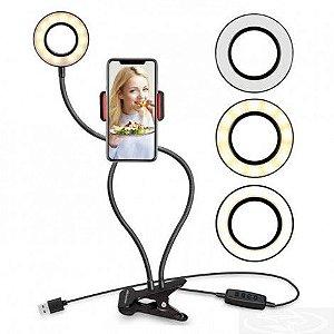 RING LIGHT 3,5 POLEGADAS COM SUPORTE PARA SMARTPHONE ARTICULADO X-CELL XC-RL-01
