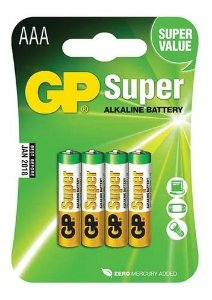 PILHA ALCALINA TAM AAA PACK C/4 GP SUPER GP24A-2UE4