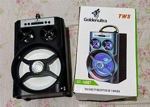 CAIXA DE SOM TWS FM USB TF GOLDENULTRA GT-166BT