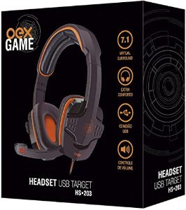 HEADSET TARGET 7.1 USB OEX GAME HS203PRLR