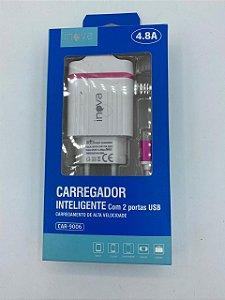 CARREGADOR INTELIGENTE INOVA V8 4.8A 2 USB CAR-9006