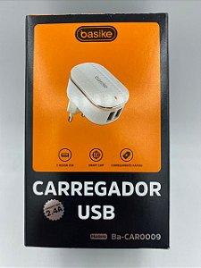CARREGADOR TURBO V8 BASIKE 5V 2.4A 2 USB BA-CAR0009