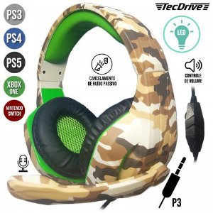 HEADSET GAMER PX-5-DESERTO LED PLAYSTATION PS3 PS4 XBOX ONE P3 TECDRIVE
