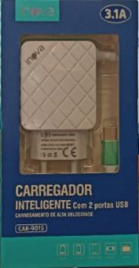 CARREGADOR INTELIGENTE INOVA TYPE-C 3.1A 2 USB CAR-9015