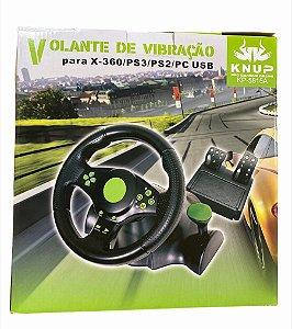 VOLANTE DE VIBRAÇÃO COM PEDAL X-BOX360 PS3 PS2 PC USB KNUP KP-5815A