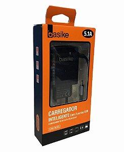 CARREGADOR INTELIGENTE BASIKE V8 5.1A 3 USB CAR-9002