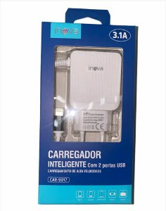 CARREGADOR INTELIGENTE INOVA LIGHTNING (IPHONE) 3.1A 2 USB CAR-9017