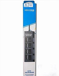HUB USB 4 PORTAS NÃO ACOMPANHA FONTE USB 2.0 LEHMOX LEY-21