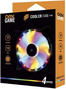 COOLER FAN 120MM 16 LEDS COLORIDO 4 CORES 1200RPM OEX GAME F30