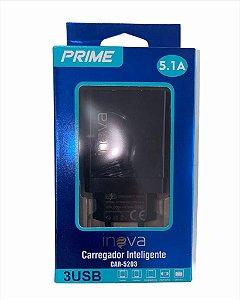 FONTE CARREGADOR RÁPIDO 3 USB 5.1A INOVA CAR-5203