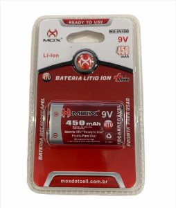 BATERIA 9V LITIO ION RECARREGAVEL 450mAh MOX MO-9V450