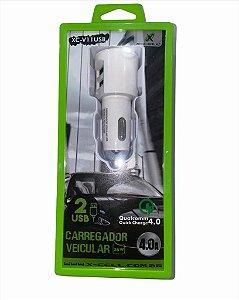 FONTE VEICULAR 2 USB 4.0A 36W FLEX XC-V11USB