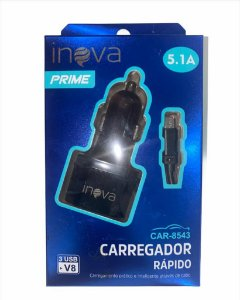CARREGADOR AUTOMOTIVO INOVA PRIME INOVA 5.1A 3 USB CAR-8543