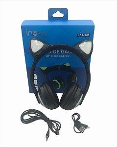 FONE DE OUVIDO SEM FIO BLUETOOTH V5.0 COM GATINHO COM LED INOVA FON-7425