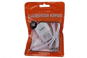 CARREGADOR V8 2.1A 3 in 1 COM ENTRADA USB BASIKE CAR-8112