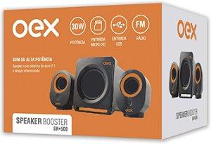 CAIXA DE SOM SPEAKER BOOSTER SUBWOOFER 30W RMS OEX SK500