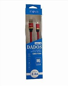 CABO DE DADOS 1M LIGHTNING 2.4A INOVA CBO-7356