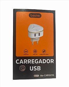 CARREGADOR TURBO BASIKE 5V 2.4A V8 2 USB BA-CAR0016