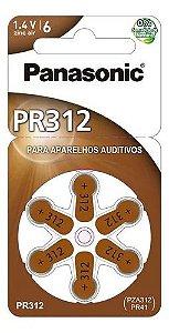 BATERIA PANASONIC AUDITIVA ZINC AIR C/ 6  ( 1,4V / 63MAH ) PR312 PZA230 PR10