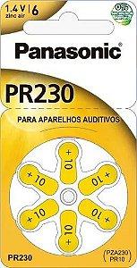 BATERIA PANASONIC AUDITIVA ZINC AIR C/ 6  ( 1,4V / 130MAH ) (00285) PR312 PZA312 PR41