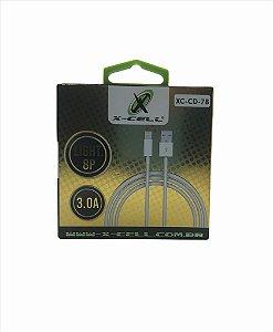 CABO DE DADOS USB/LIGHTNING 8P 3.0A X-CELL XC-CD-78