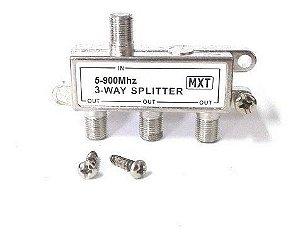 DIVISOR SPLITTER BLINDADO 1X3 5-900 MHZ (BAIXA)