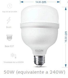 LAMPADA BULBO LED T 50W BIVOLTt 6500K LD ELGIN