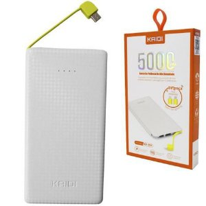 POWER BANK KAIDI 5000mAh C/ ADAP TYPE-C/LIGHTNING KD-952